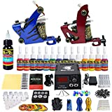 Solong Tattoo® kit tatuaje 2 máquina tatuar 14 Tintas Fuente De Alimentación Enchufe Pedal Agujas Puños Consejos TK210