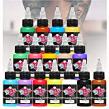 Nuevo diseño de tatuaje 16 colores primarios Kit de pigmento de tinta de tatuaje Kit de pigmento de 1 oz Suministro de tatuaje profesional para suministros de arte de belleza de color de tatuaje