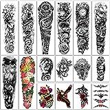 Tatuaje temporal extra grande 8 hojas Tatuajes falsos de brazo completo y 8 hojas Etiqueta engomada del tatuaje de medio brazo para hombres y mujeres (16 hojas)