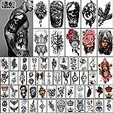 Yazhiji 56 Hojas de Pegatinas de Tatuajes Temporales 11 Hojas de Tatuajes de Medio Brazo para hombres o mujeres con 45 hojas de pequeños tatuajes falsos