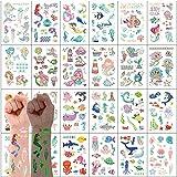 VEGCOO 300PCS Tatuajes Temporales Pegatinas Para Niños Niñas Luminoso Dibujos Animados Falso Pegatinas de Tatuaje para Niños Infantiles Regalo de Fiesta de Cumpleaños(Sirena y Tema del océano)