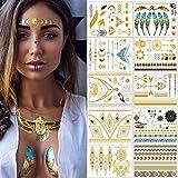 Tatuajes Dorados – Meersee 10 Hojas de Tatuajes Temporales Metálicos Adultos Brillante y ultra Resistente (Oro)