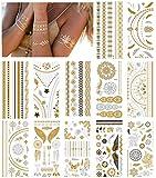 NEPAK 12 hojasPegatinas de tatuaje de metal, pegatinas de tatuaje temporal de metal, pegatinas de tatuaje falsas impermeables brillantes, adecuadas para adultos o niños